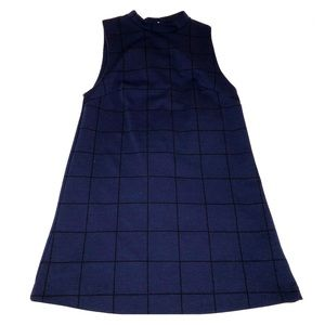 Cooperative plaid, high-neck mini dress